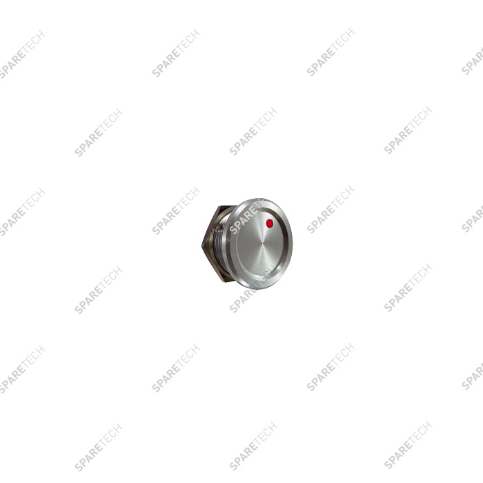 Bouton PIEZO aluminium à LED rouge, 24VDC, 22mm IP68